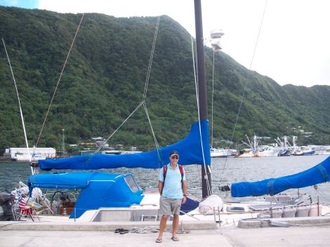 Frank in front of 'Mainly' on the Pago Pago wharf