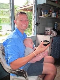 Paul having his first bowl of kava at Loboki