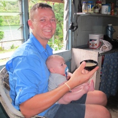 Paul having his first bowl of kava at Loboki
