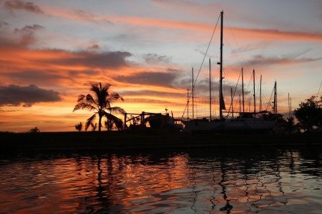 A beautiful sunset in Vuda Marina before we head off cruising the following day