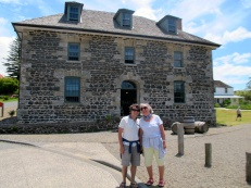 Nadi and Dan outside the Stone House, Kerikeri