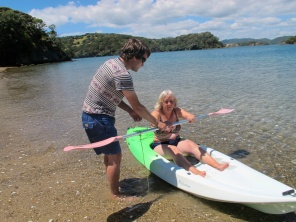 Danny showing his Mum how to kayak