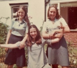 Melanie (left), Abigail (centre) & Nikki (right) aged 17 at school.