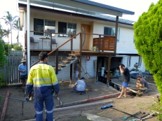 The 'boys' all hard at work concreting at Paul's place.