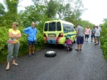 Flat tyre on our tour day out