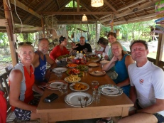 Lunch at Hoga Resort after diving with Margret & Nils, Cynthia and Leanne
