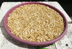 Boiled and shelled almonds ready for use