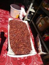 Almonds drying in sun