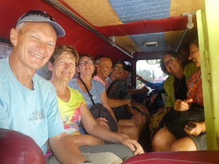 Cramped together in the minibus