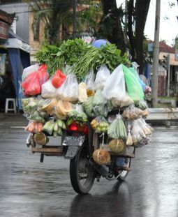 Motorbikes used as traveling grocery store