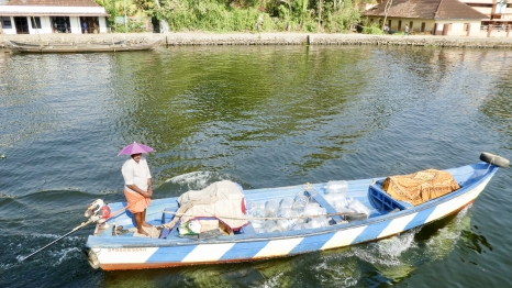 This fellow delivered provisions at shops along the waterways