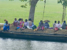 Taking a break from working in the rice paddies