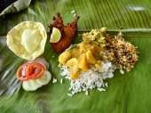 Banana leaf meal. Cook Lal whipped up feasts for us each day on a two burner stove in a tiny galley